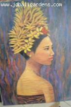Bali lady with flower headress painting